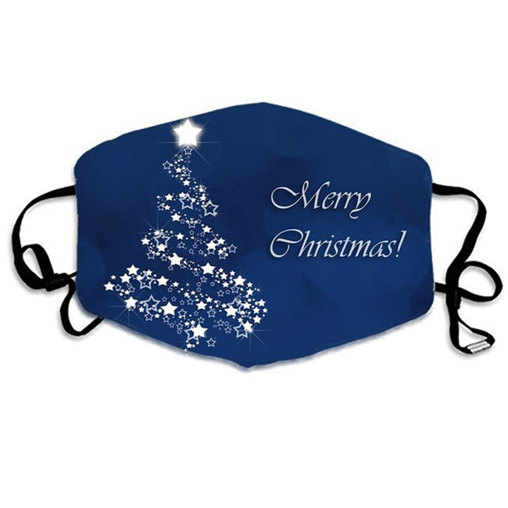 Merry Christmas Face Mask Adults Unisex Christmas Mask Mouth Cover Warm Windproof Cotton Face Mask Anti-dust Protective Masque 2