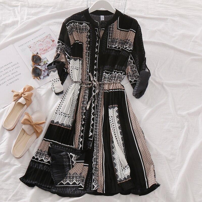 Spring Autumn Women's Pleated Dress Long-sleeved Shirt Dress Korean Retro Ethnic Style Long-sleeved Dress Plus Size Dress GD518 4