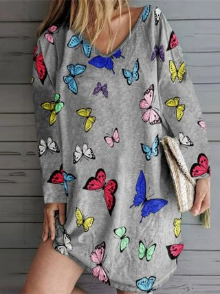 Ladies Summer time Butterfly Print Unfastened Gown