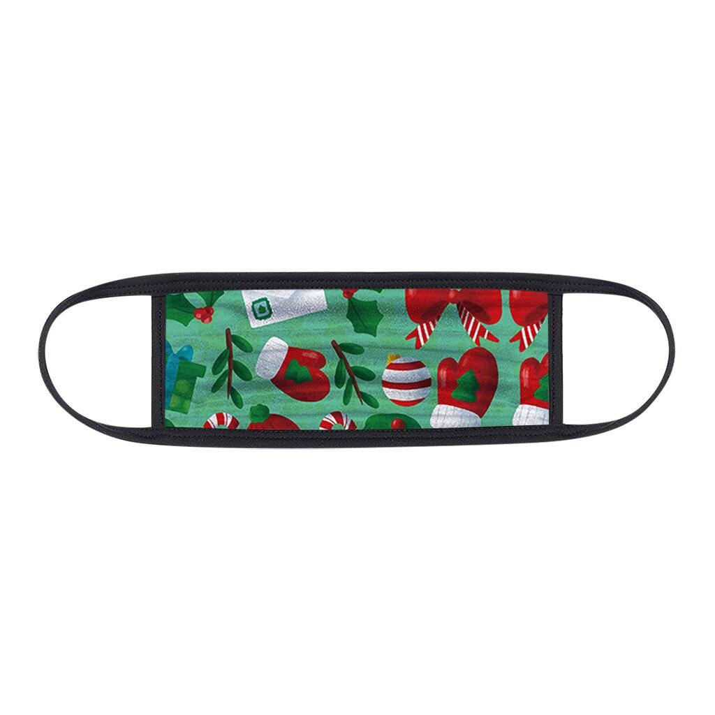 1PC Unisex Protect Spitting Protective Christmas Face Mask Adjustable Soft Washable Printed Pattern Mascarilla Navida 4