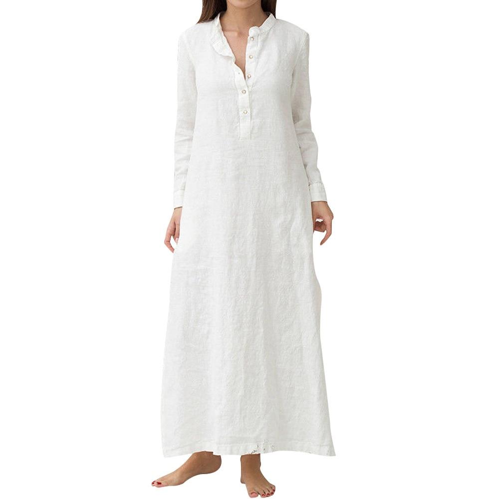 Women's Holiday Summer Dress Kaftan Cotton Long Sleeve Plain Casual Oversized Maxi Long Shirt Dress Wear Work Shirts Women #L35 4