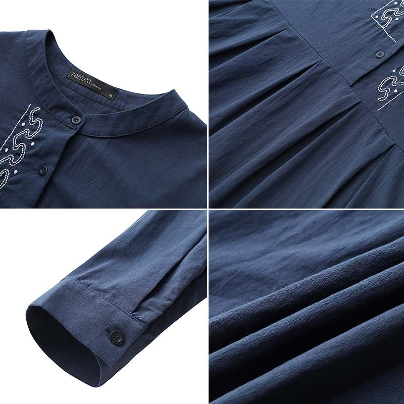 2020 ZANZEA Autumn Long Sleeve Sundress Women Casual Cotton Linen Kaftan Vintage Embroidery Work Long Shirt Dress Female Robe 4
