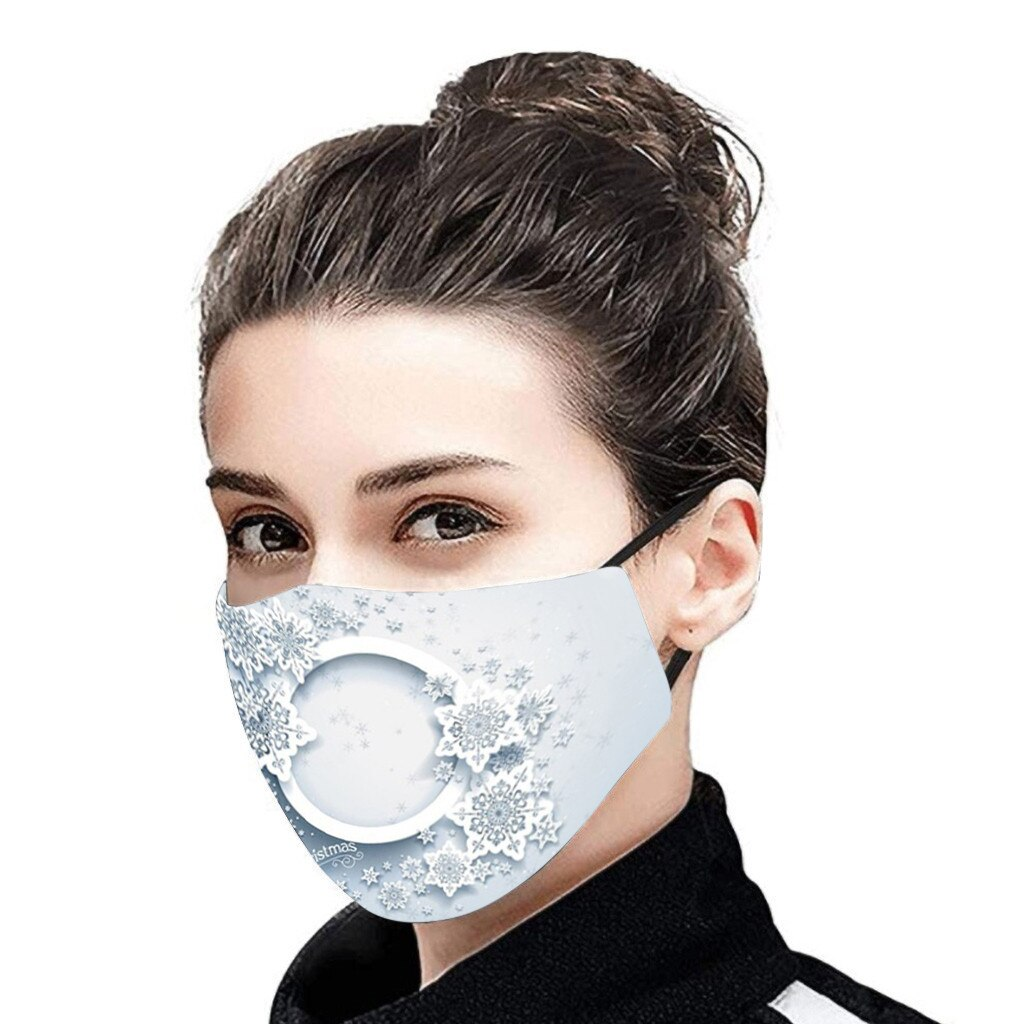 Christmas Face Mask Activated Carbon Outdoor Fabric Facial Mask Christmas Print Mouth Cap Washable Christmas Wear mascarillas 2