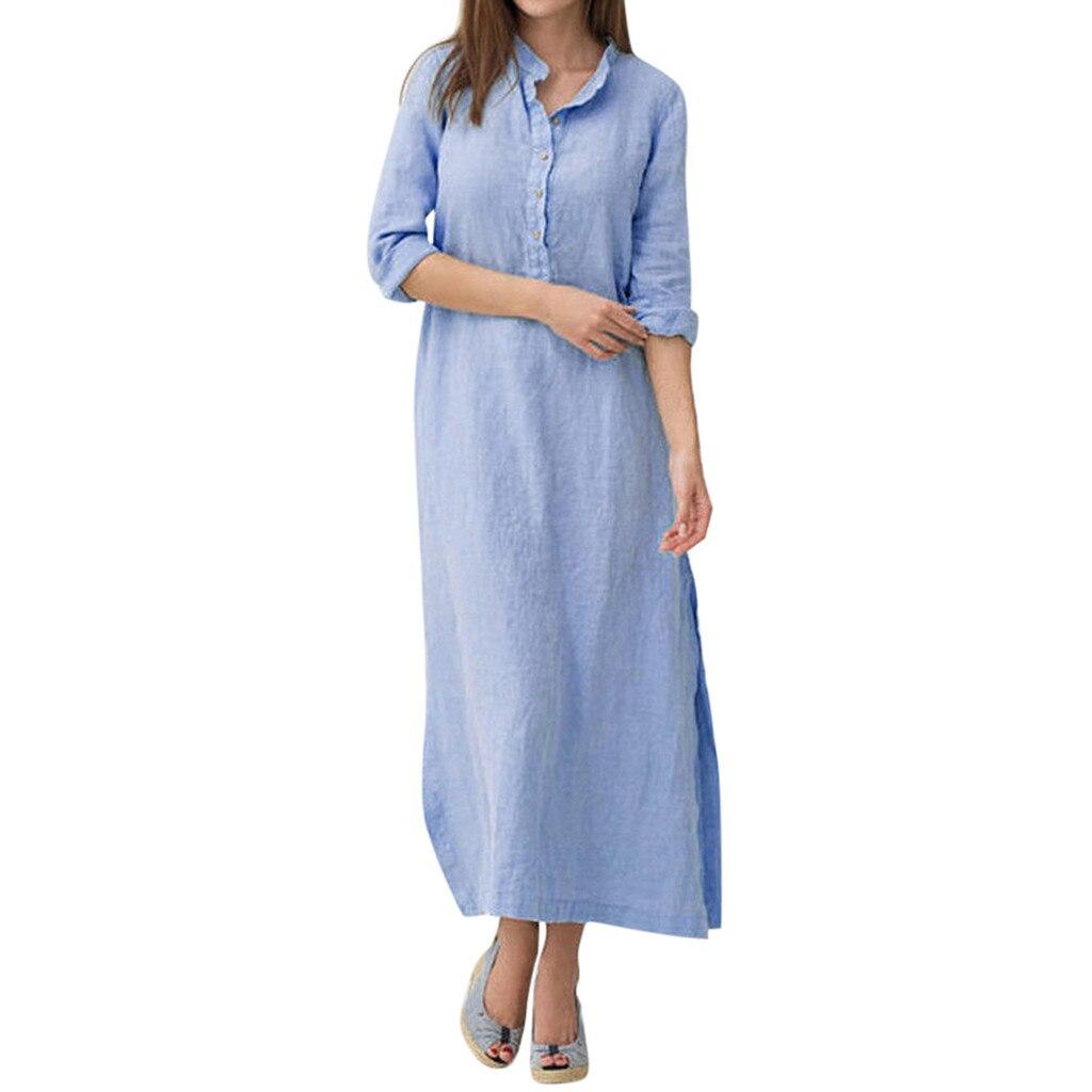 Women's Holiday Summer Dress Kaftan Cotton Long Sleeve Plain Casual Oversized Maxi Long Shirt Dress Wear Work Shirts Women #L35 3