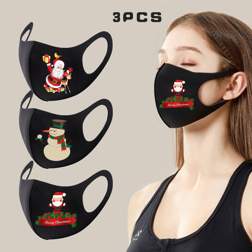 3pc Adult Christmas Face Mask Washable Mouth Fabric Facial Mask For Protection Reusable Santa Earloop Mouth Caps Masque Adulte