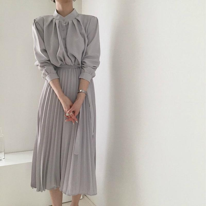 Long Sleeve Office Shirt Pleated Elegant Dress Women Vintage Ladies Dresses Korean Casual Woman Dress Vestidos Robe Femme 2020 2