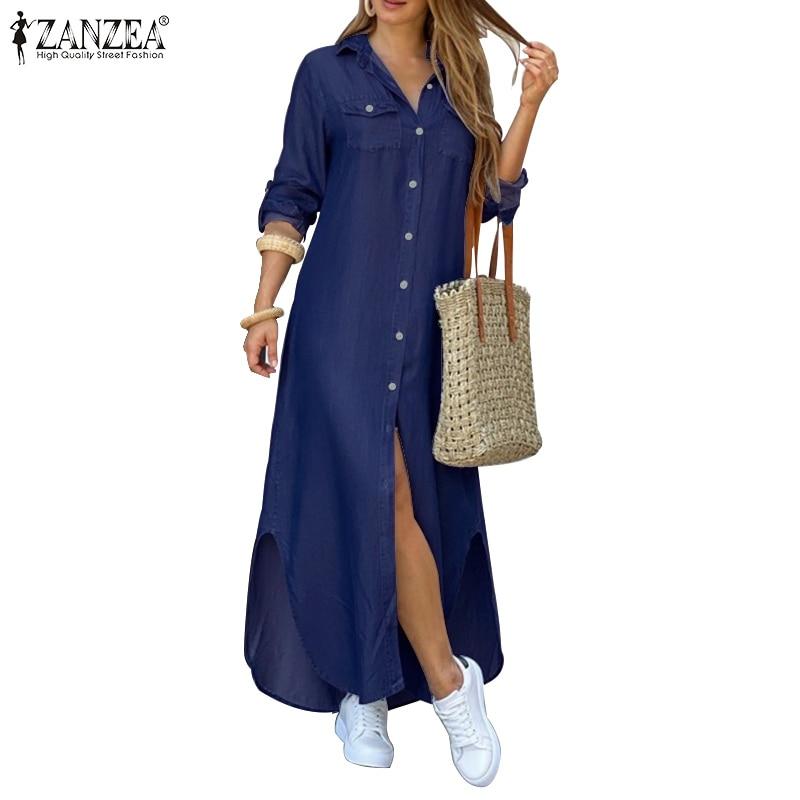 ZANZEA Women Long Maxi Dress Casual Solid Buttons Down Long Shirts Vestidos Cotton Linen Sundress Lapel Neck Party Beach Dresses 2