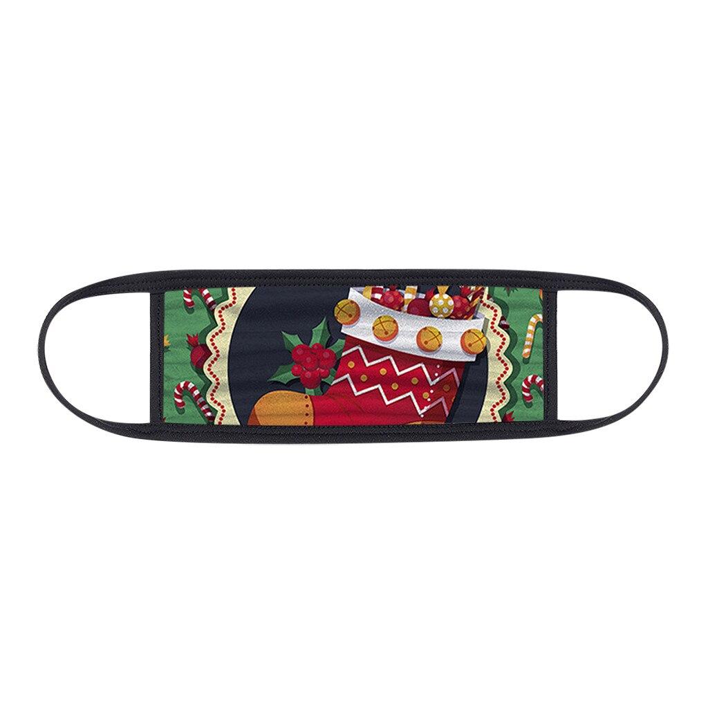 1PC Unisex Protect Spitting Protective Christmas Face Mask Adjustable Soft Washable Printed Pattern Mascarilla Navida 3