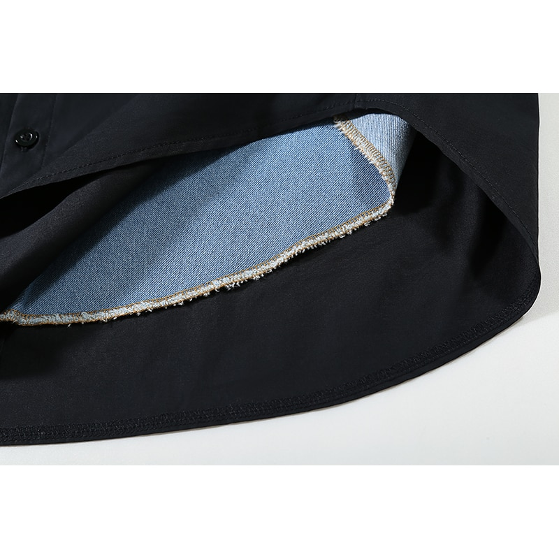 New Woman Full Sleeve 2020 Autumn Black Shirt Dress Denim Patchwork Plus Size Midi Ladies Loose Fit Casual Dress Style Robe 6656 3