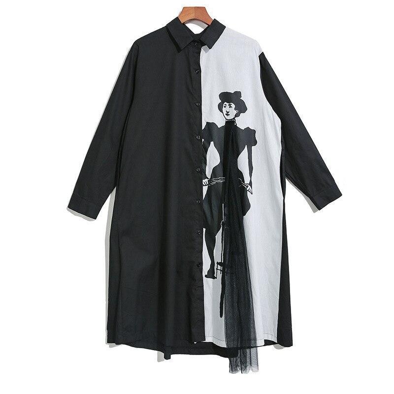 New 2019 Women Hit Color Women Shirt Dress Black White Shirt Patchwork Cartoon Printed Female Plus Size Straight Dress Robe J224 4