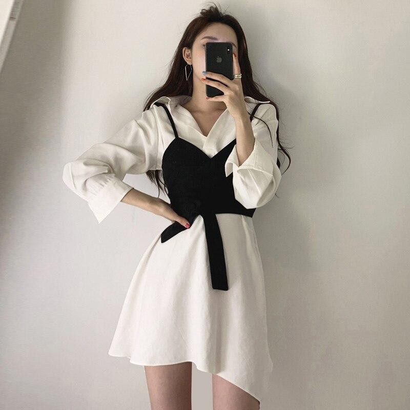 Summer Women's Shirt Dress Empire Sashes Patchwork A-line button Turn-down Collar Mini Shirt Dress Sexy Female Dress Women PL051 3