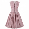 Vintage Sleeveless Pleated Printing Shirt Dress