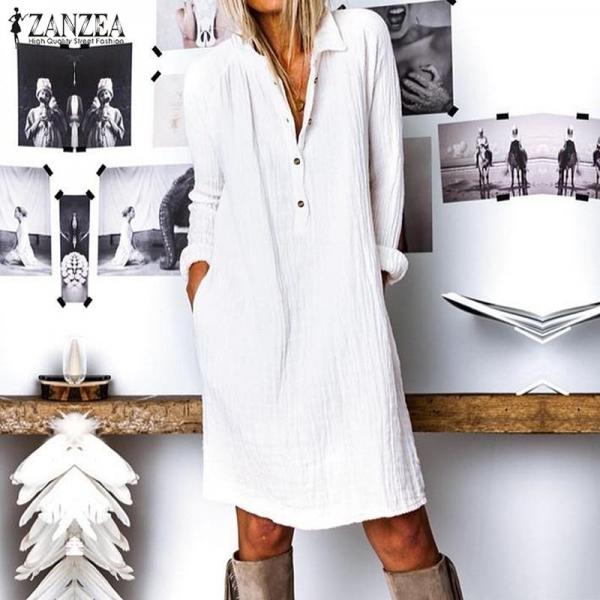 Vogue Autumn Lengthy Shirt Costume Girls Lapel Neck Lengthy