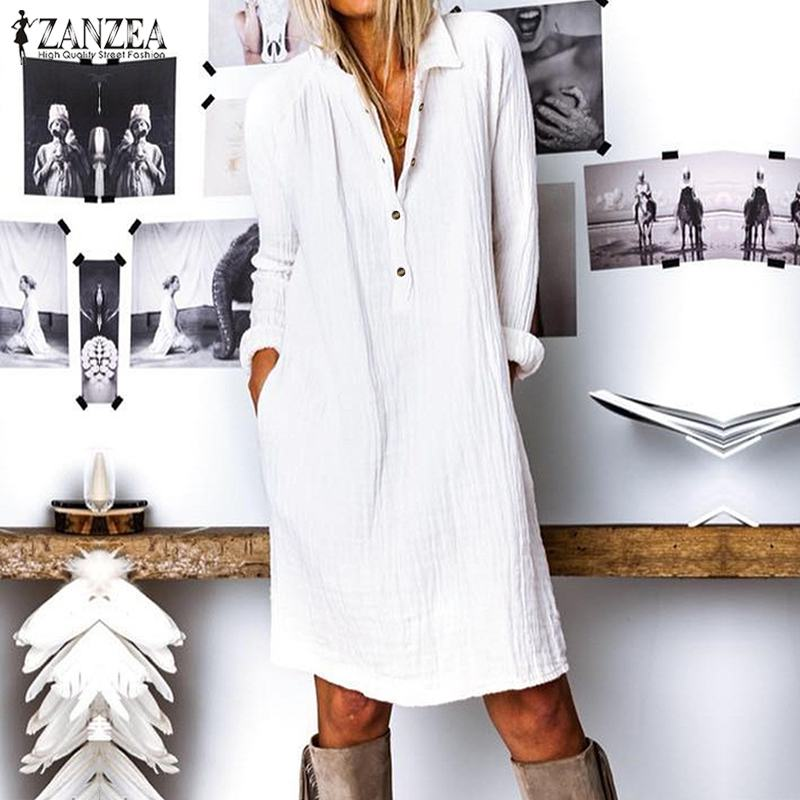 ZANZEA Fashion Autumn Long Shirt Dress Women Lapel Neck Long Sleeve Buttons Vestido Casual Loose Cotton Linen Sundress Plus Size