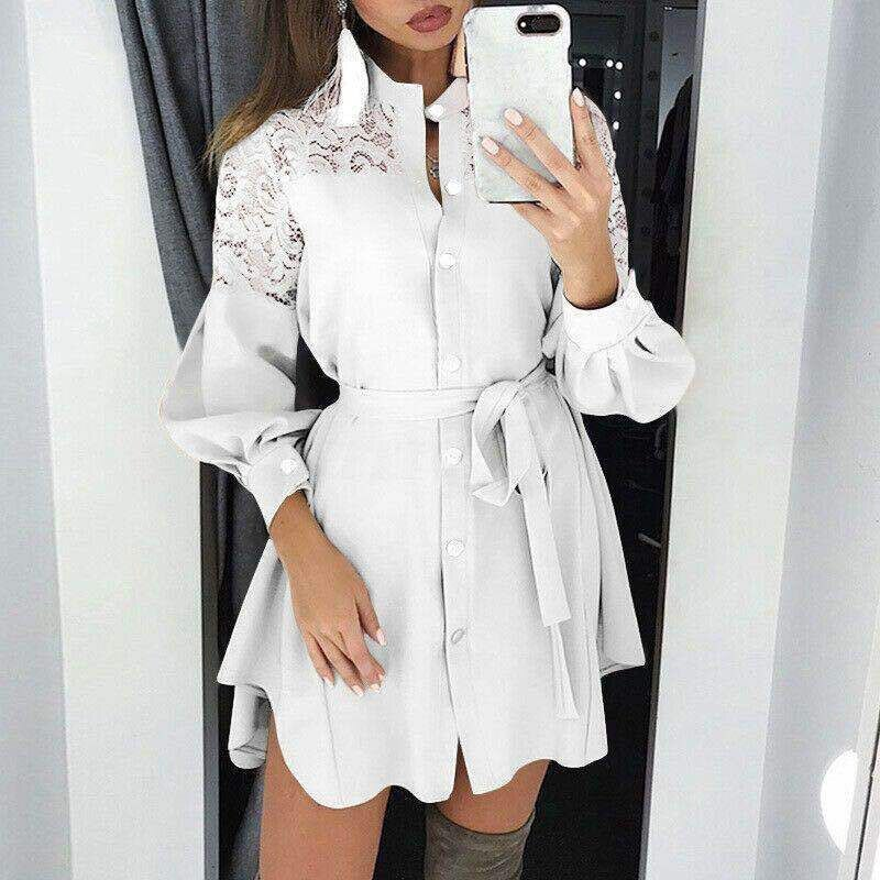 Women Elegant Turn-Down Collar Shirt Dress 2020 Autumn New Fashion Zipper Mini Dresses Office Lady Lantern Sleeve Letter Dresses