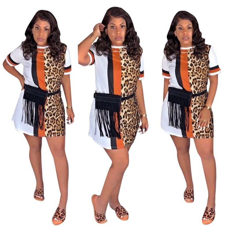 Patchwork Leopard Print Dress for Women Streetwear Short Sleeve Casual Summer Dress 2020 Beach Mini Loose T Shirt Dress Vestidos 3