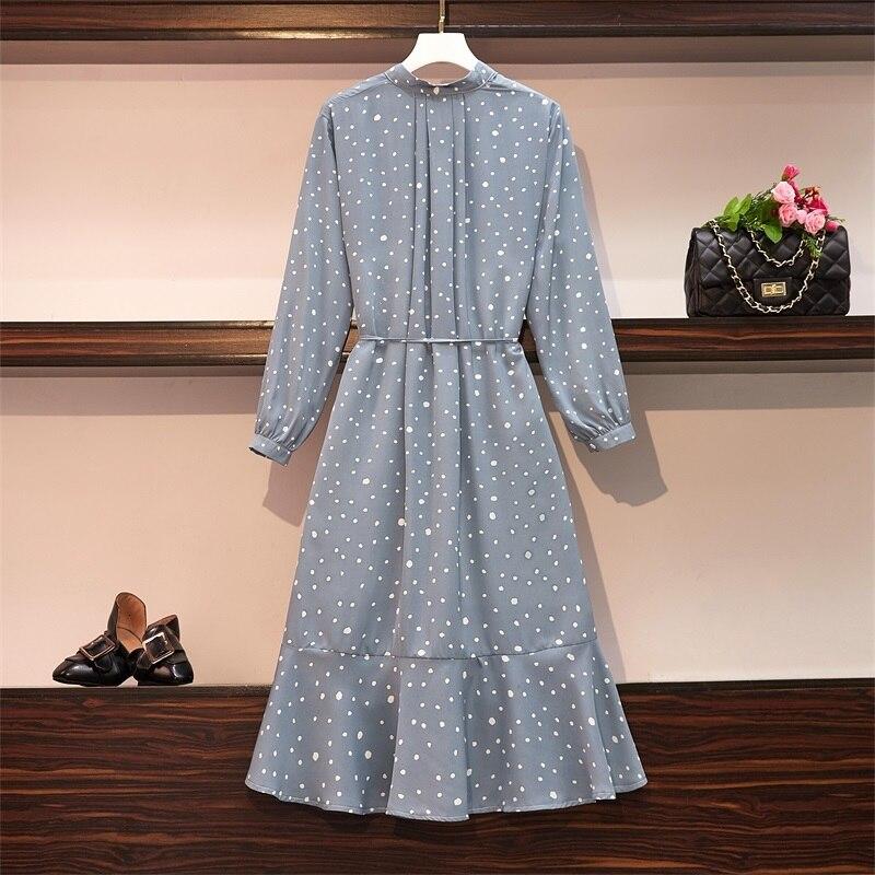 Plus Size Women Ruffle Meimaid Dress Autumn 2019 Fashion Polka Dot Print Long Sleeve Loose Casual Chiffon Shirt Dresses 4