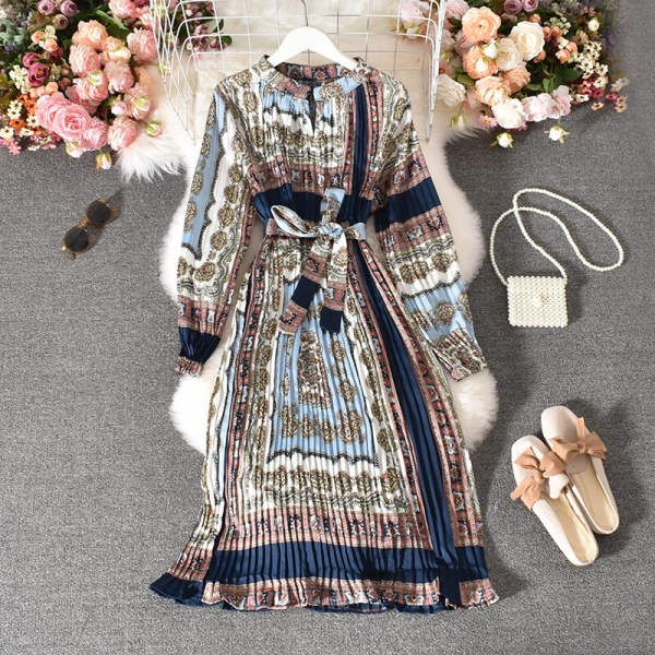 Spring Autumn Girls's Pleated Costume Lengthy-sleeved Shirt