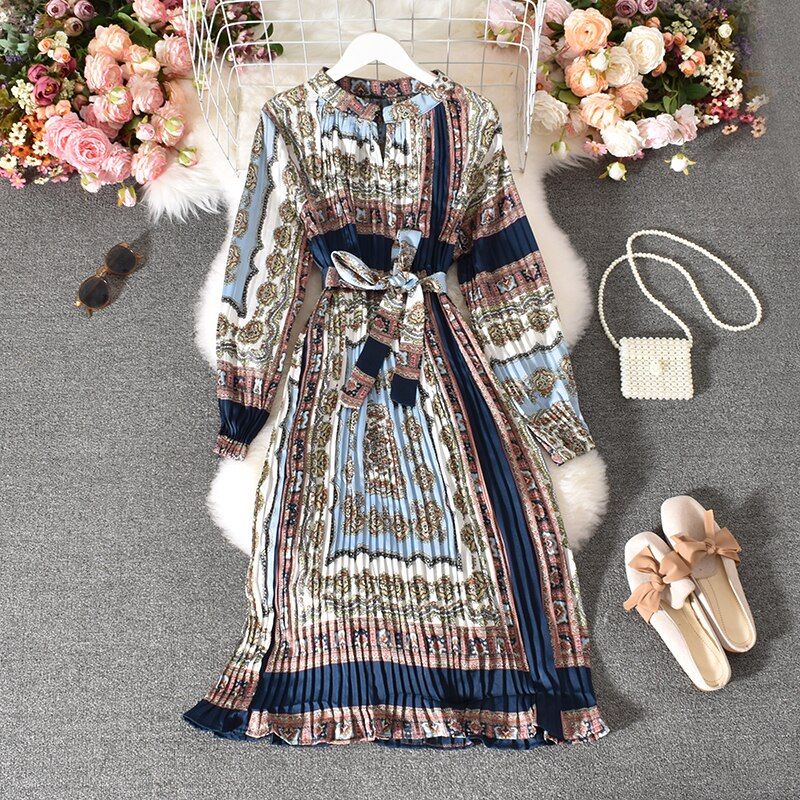 Spring Autumn Women's Pleated Dress Long-sleeved Shirt Dress Korean Retro Ethnic Style Long-sleeved Dress Plus Size Dress GD518
