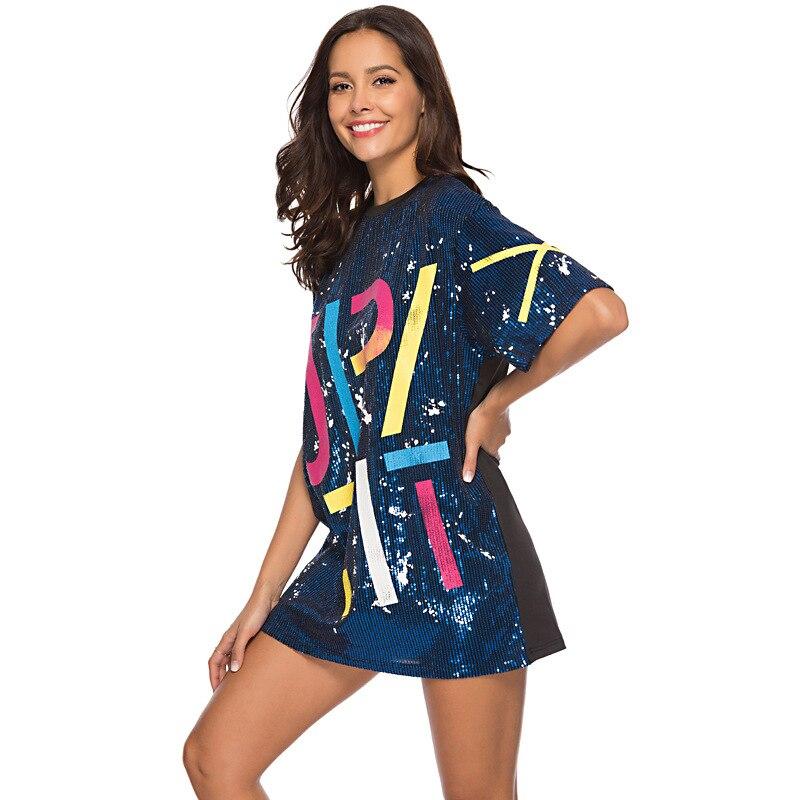 Woman Club Dresses 2019 Sequin T Shirt Dress Plus Size Loose Tee Shirts Glitter Tops Summer Dress Sequin tops 3
