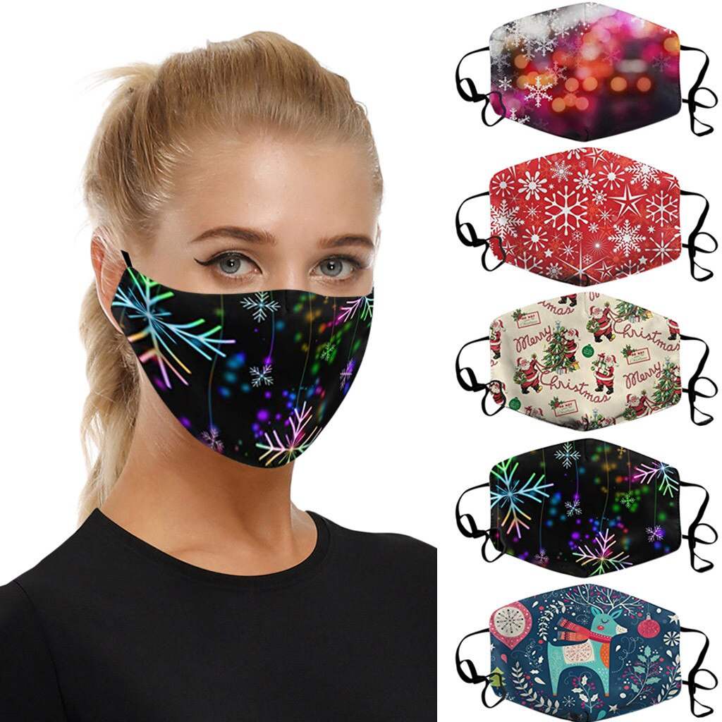 Adults Christmas Face Mask Washable Christmas Expression Prints Fabric Facial Mask Filter Adult New Year Mouth Cover Maske#YL5