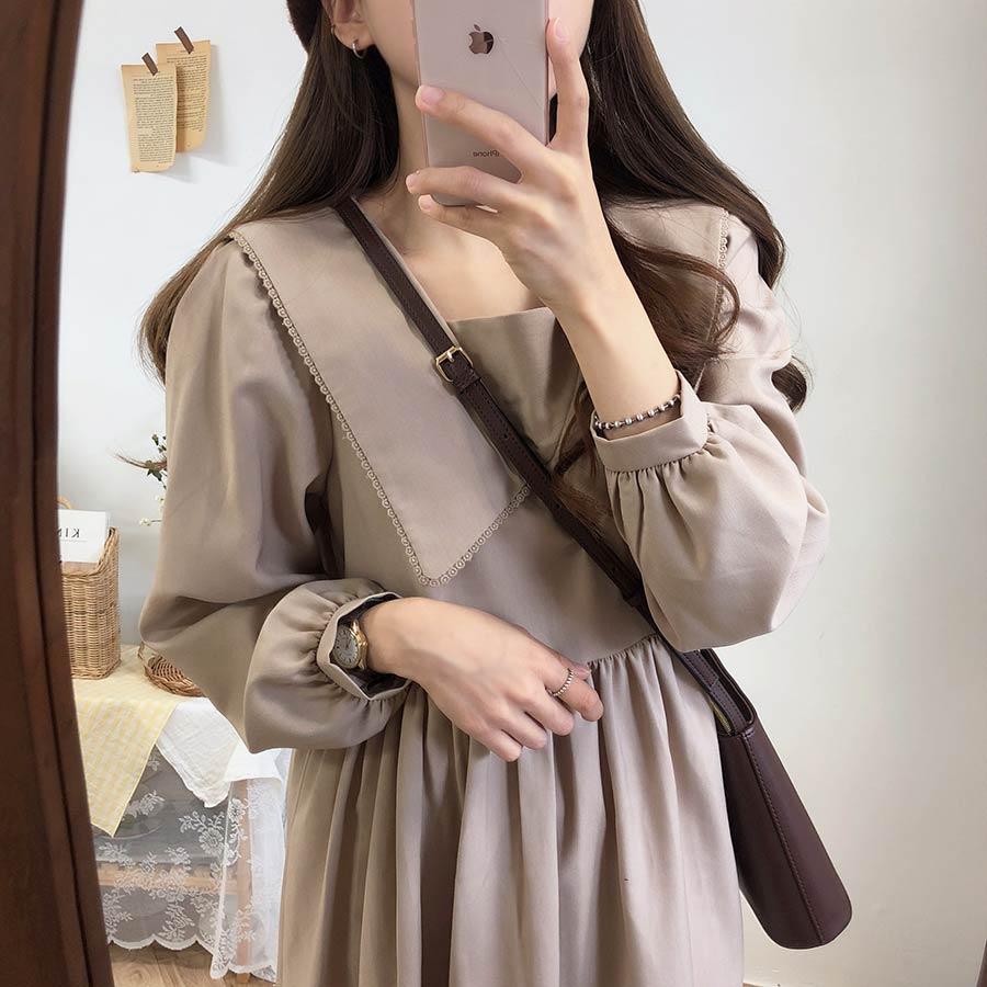 new Plus size Autumn Dress Girls Boho Party Female Vintage Dress plaid buttons Long Sleeve Women Dresses Long shirt Robe Vestido 3