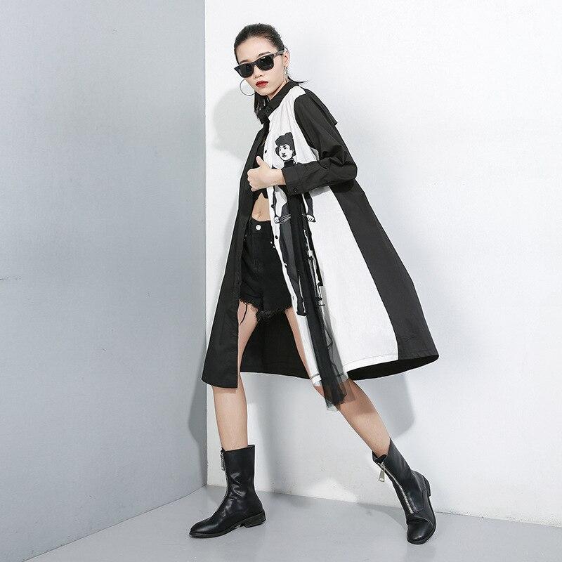 New 2019 Women Hit Color Women Shirt Dress Black White Shirt Patchwork Cartoon Printed Female Plus Size Straight Dress Robe J224 2
