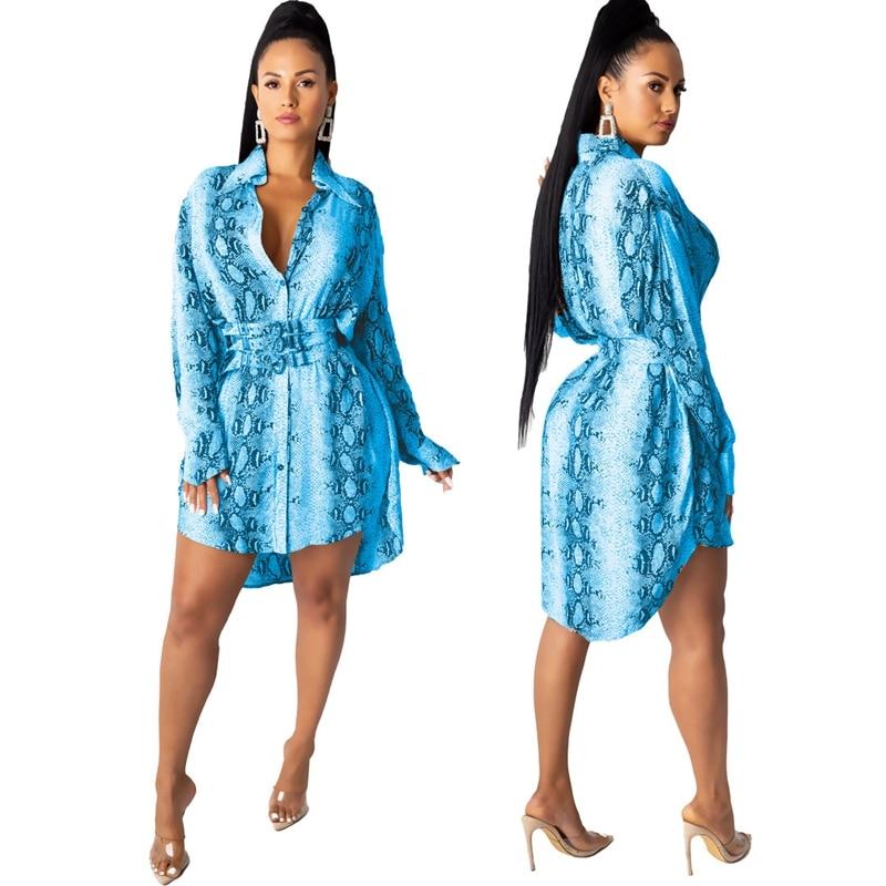Snake Print Long Sleeve Shirt Dress Women Fall Office Short Mini Shirt Dress Button Turn Down Collar Elegant Casual Autumn Dress 4