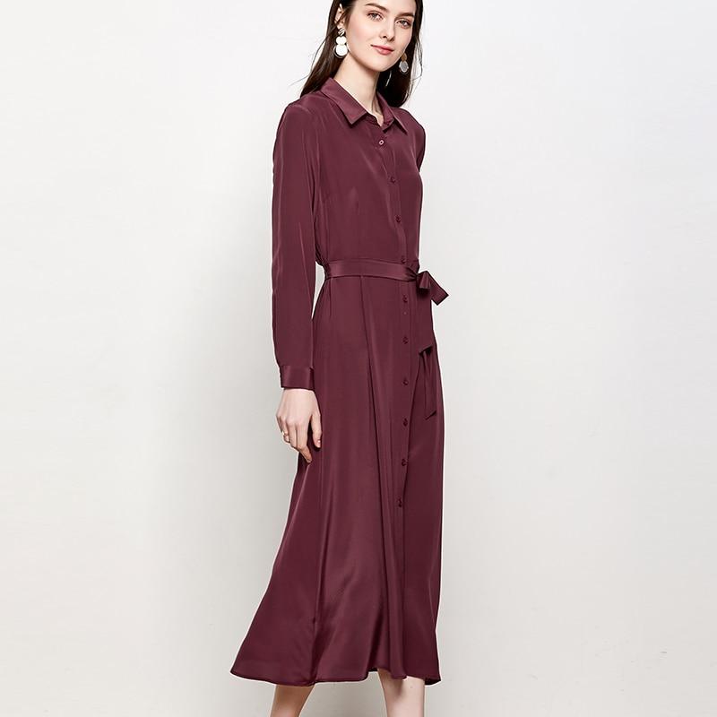 SuyaDream Woman Solid Long Silk Dress 100%Silk Elegant Sash Office Lady Shirt Dress Women 2020 Summer Work Blouse Dresses 3
