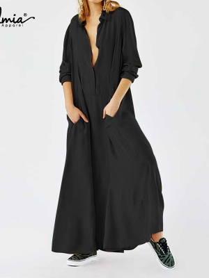 Maxi Costume Lengthy Sleeve Free Buttons Pleated Shirt