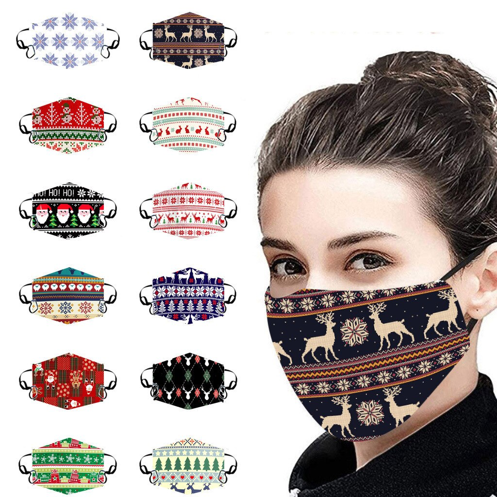 Unisex Christmas Face Mask Windbreak Mouth Cover Outdoor Riding Quick-drying deer print Fabric face Reusable mask mascarillas 1