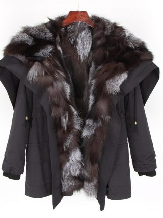Jacket winter jacket feminine black coat pure fox