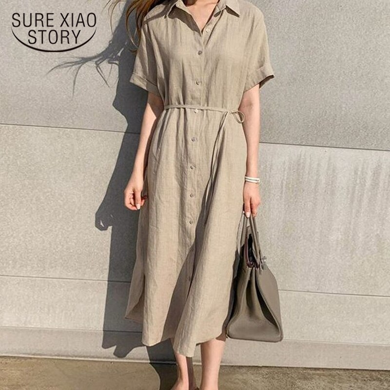 Simple Casual Loose Lapel Women Shirt Dress 2020 Spring Summer Single-Breasted Lace-Up Short Sleeve Female Dress Robe Femme 9948