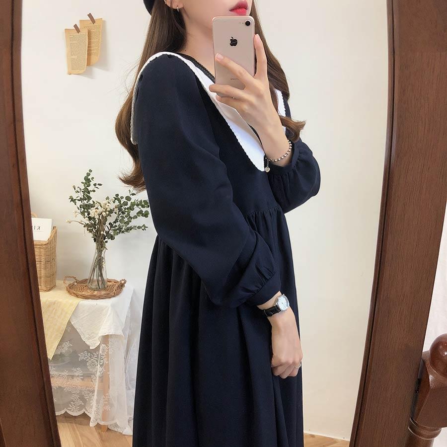 new Plus size Autumn Dress Girls Boho Party Female Vintage Dress plaid buttons Long Sleeve Women Dresses Long shirt Robe Vestido 4