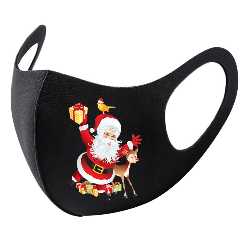 1pc Adult Christmas Face Mask Washable Mouth Fabric Facial Mask For Protection Reusable Santa Earloop Mouth Caps Маска Masques 3