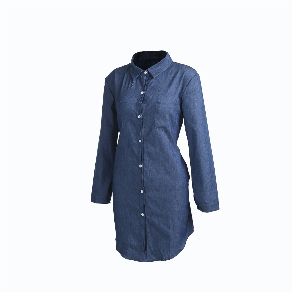 Women Denim Dresses Autumn Fashion Turn Down Collar Mini Dress Lapel Long Tops Shirt Ladies Long Sleeve Holiday Mini Dress S-2XL 2
