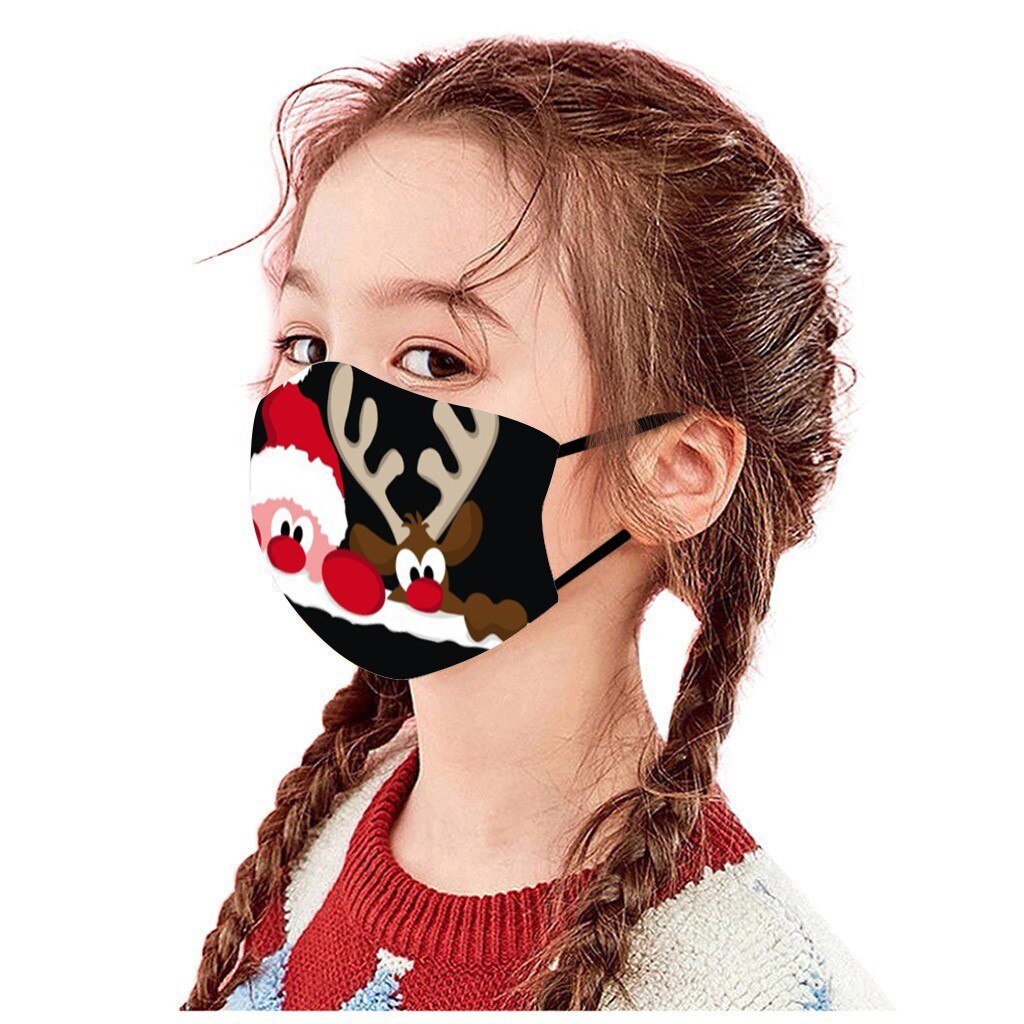 Unisex Merry Christmas Face Mask Cute Animal Snowman Santa Claus Printing Mask Adjustable Washable Face Mask Mascara Maszk 4