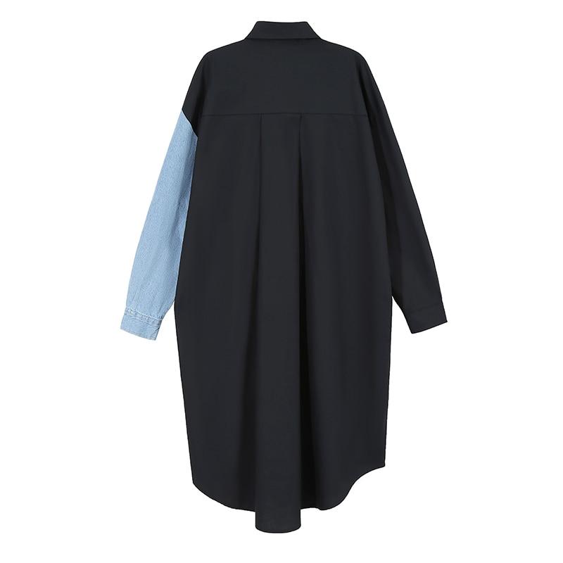 New Woman Full Sleeve 2020 Autumn Black Shirt Dress Denim Patchwork Plus Size Midi Ladies Loose Fit Casual Dress Style Robe 6656 2