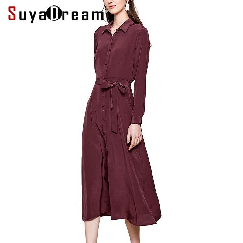 SuyaDream Woman Solid Long Silk Dress 100%Silk Elegant Sash Office Lady Shirt Dress Women 2020 Summer Work Blouse Dresses