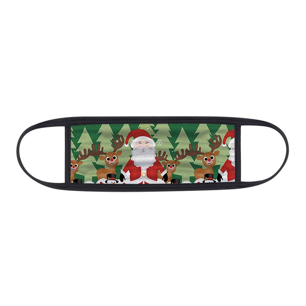 1PC Unisex Protect Spitting Protective Christmas Face Mask Adjustable Soft Washable Printed Pattern Mascarilla Navida 2