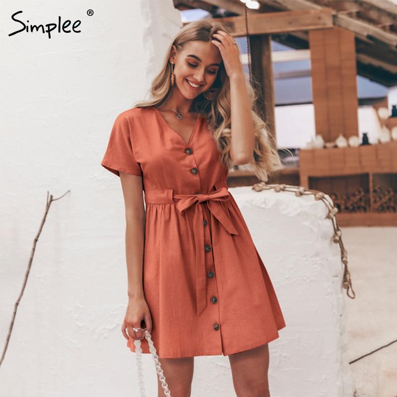 Simplee Vintage buttons women dress shirt V neck short sleeve cotton linen short summer office dresses Casual korean vestidos 3