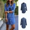 Denim Attire Autumn Trend Flip Down Collar Mini Gown