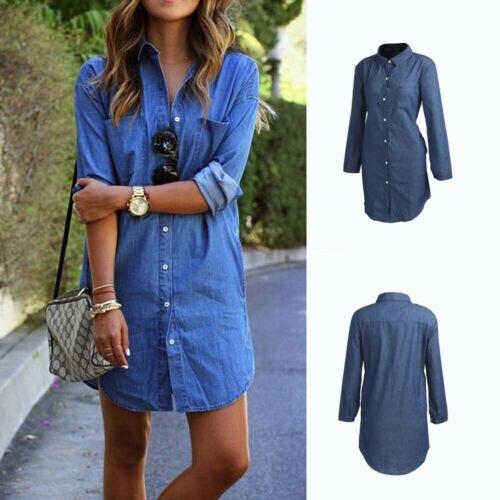 Denim Attire Autumn Trend Flip Down Collar Mini Gown
