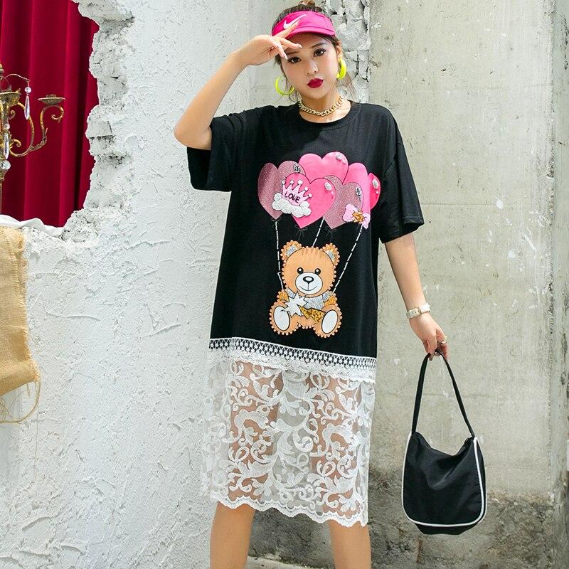 QING MO Loose Women Cartoon Dress With Beading Women Mesh Patchwork Dress Female Summer T Shirt Dress Black White ZQY4364 4