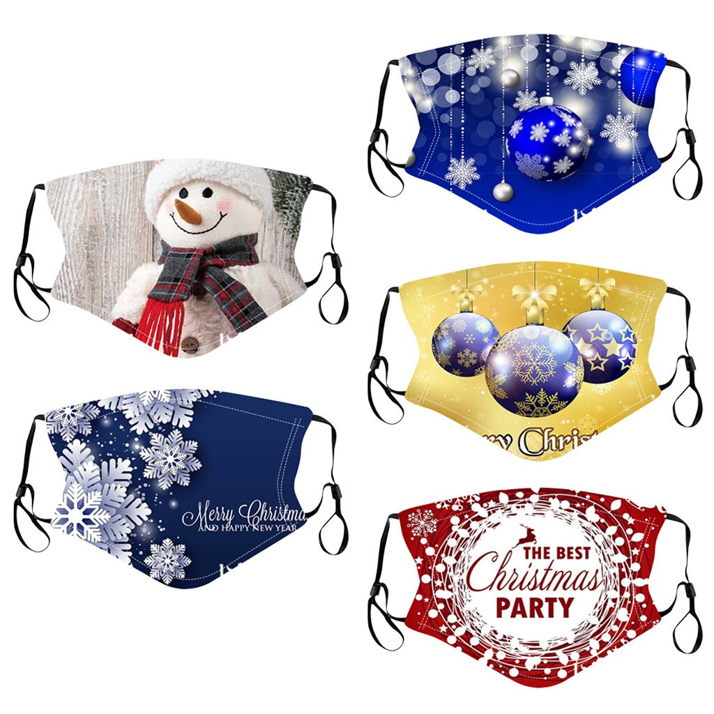 5PC Adult Xmas Mixed Mouth-Mask Reusable Washable Christmas Face Mask Masque Earloop Adjustable Outdoor Facemasks Mascarillas # 2