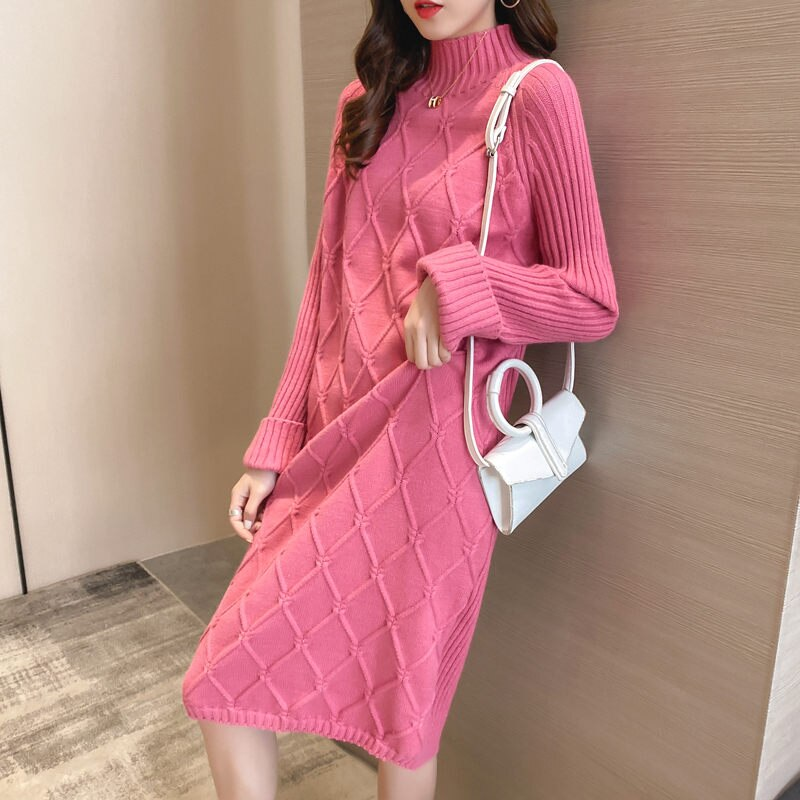 Half Turtleneck Sweater Dress Women 2020 Plaid Thick Autumn Winter Loose Sweater Dress Straight Shirt Casual Long Knit Dress Top