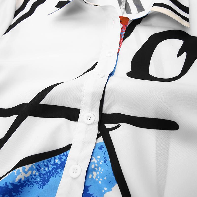 Celmia Ruffled Long Dress Fashion Women Graffiti Printed Dress Kaftan Lapel Shirt Dress Long Sleeve Maxi Dresses Autumn Vestido 4