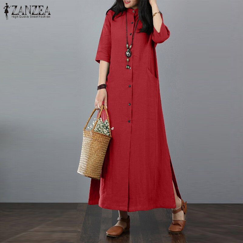 ZANZEA Women Long Maxi Dress Mandarin Collar Long Shirt Dresses Long Sleeve Cotton Linen Vestido Kaftan Button Up Robe Plus Size 3