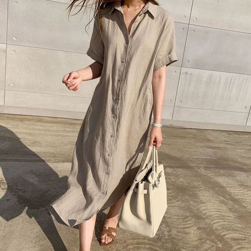 Simple Casual Loose Lapel Women Shirt Dress 2020 Spring Summer Single-Breasted Lace-Up Short Sleeve Female Dress Robe Femme 9948 1
