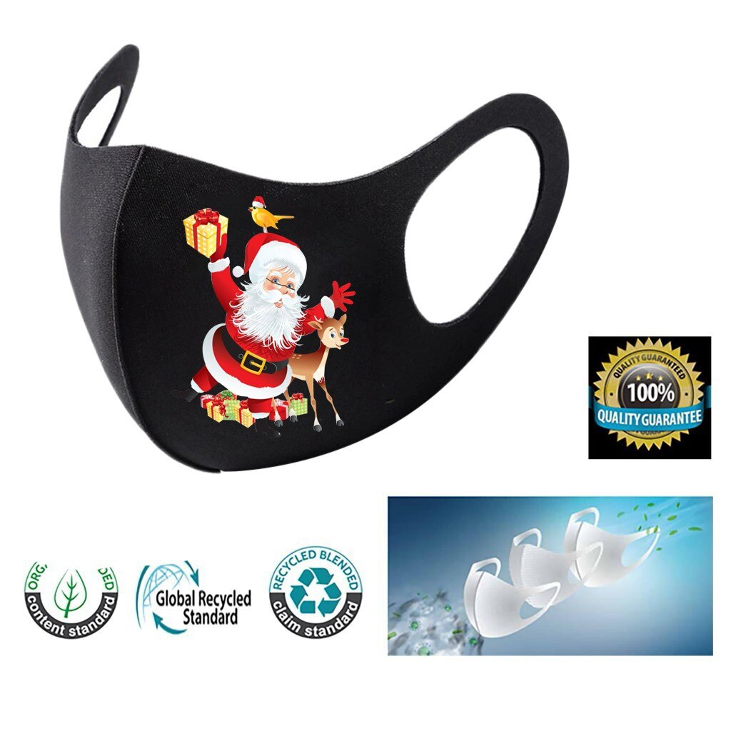 3pc Adult Christmas Face Mask Washable Mouth Fabric Facial Mask For Protection Reusable Santa Earloop Mouth Caps Masque Adulte 3